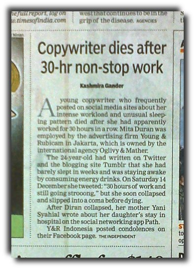 NEWSCLIP-TOI-Copy-writer-dies-of-over-work