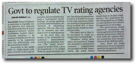 NEWSCLIP-TOI-Indian-gov-to-control-TV-rating-agencies