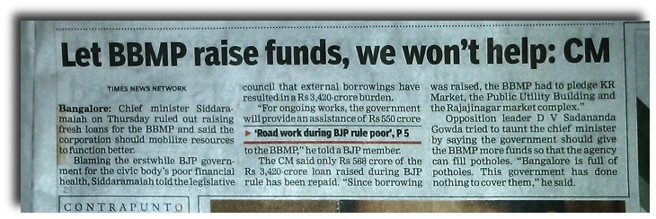 Karnataka CM refuses funds for Bangalore City.