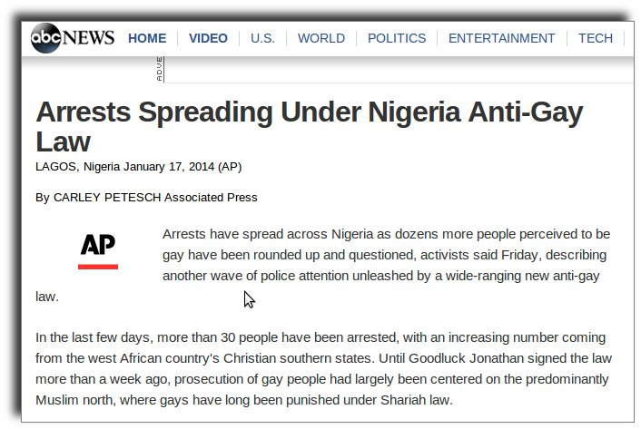 Nigeria arrests homos with new anti-homo law.