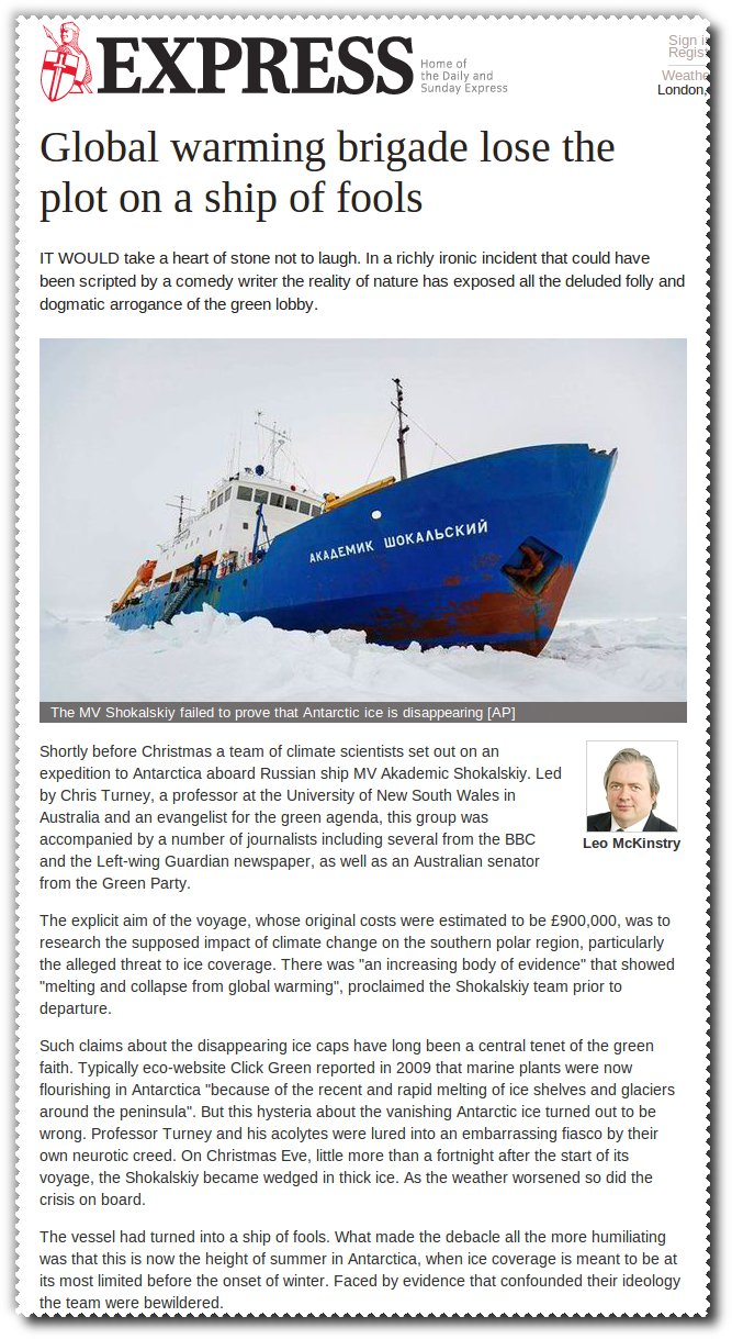 "Daily Express article ""Global warming brigade lose the plot on a ship of fools"" by Leo McKinstry"