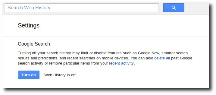 Disable Google Web History.
