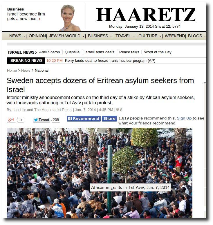 WEBPAGE-Haaretz-Israel-gets-rid-of-African-immigrants-to-Sweden