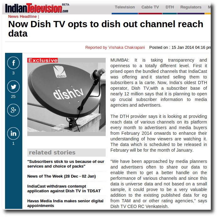 IndianTelevision.com reports that Dish TV has offered to release viewership stats.