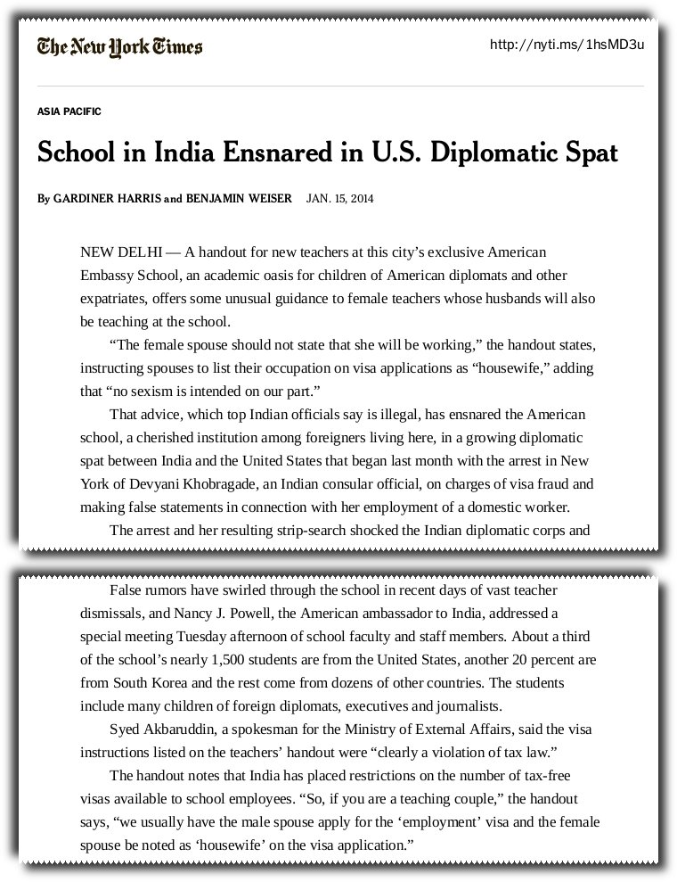 New York Times reports that the American Embassy School has asked its employees to make false statements to continue to avoid tax.