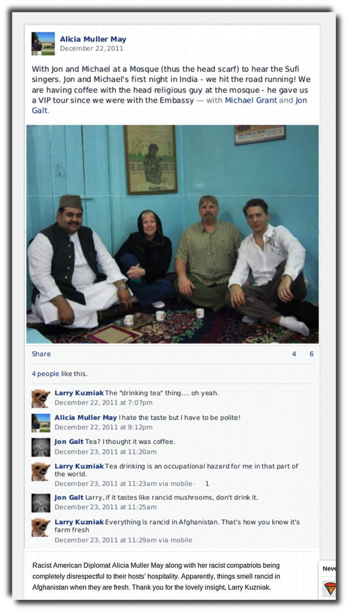 The American diplomat got herself invited into a mosque and then mocks her hosts.