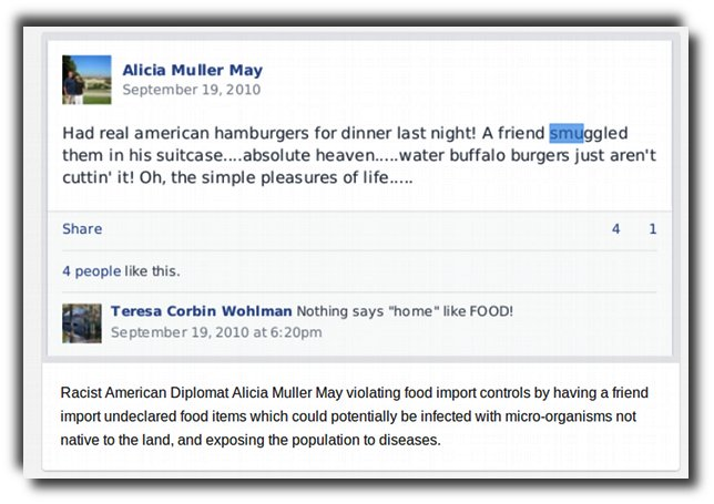 American diplomat couple Wayne & Alicia May smuggle in American beef.