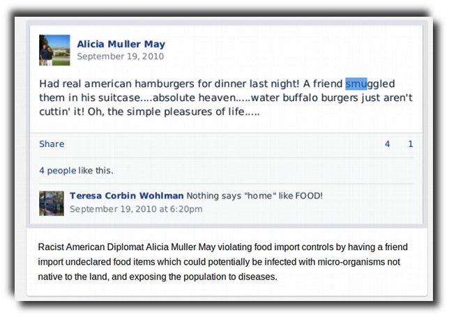 American diplomat couple Wayne & Alicia May smuggle in American beef.