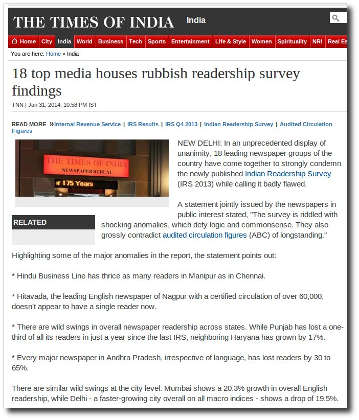 18 media houses rubbish IRS 2013 claims.