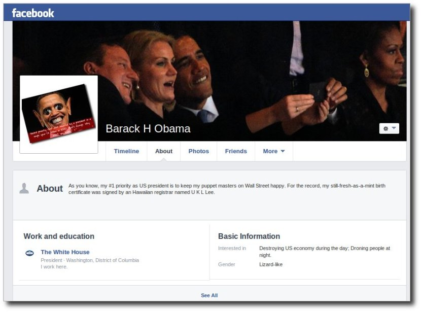 "Barack Obama's Facebook page has a new update - his gender - ""LIZARD-LIKE""."