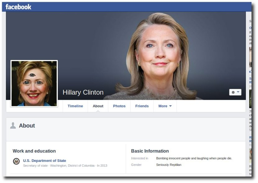 "Hillary Clinton has changed her gender to ""Seriously Reptilian"" on her Facebook page."