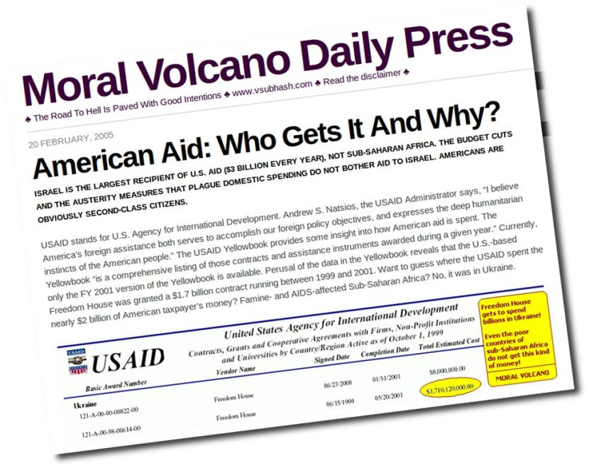 """A Moral Volcano post from 2005 showing how US state department routed US$ 2 billion via Freedom House, ostensibly to """"promote freedom and democracy"""" in Ukraine."""