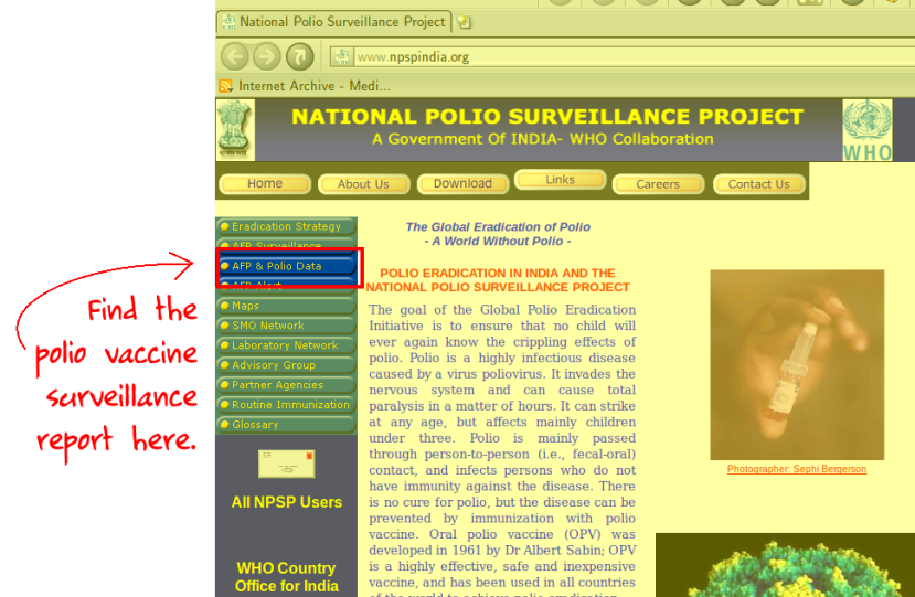Where to find the polio surveillance report on National Polio Surveillance Project website