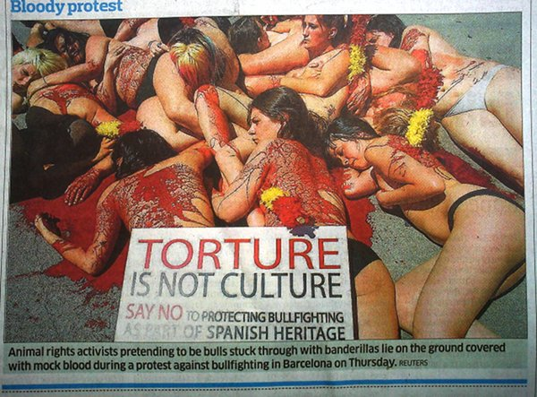 A PETA stunt featuring nude girls splashed in blood brings Freemasonic rituals to public view.