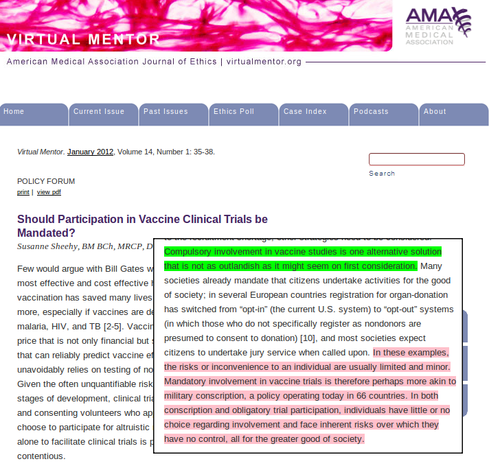 An article in American Medical Association's Journal of Medical Ethics floats the idea of forced vaccinations.