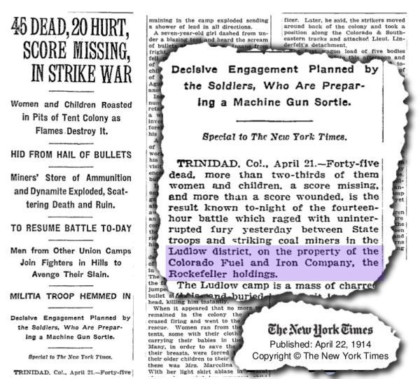 NYT clipping on Rockefeller massacre at Ludlow