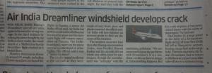 Boeing Dreamliner plane develops windsheild crack.