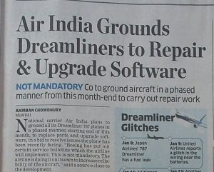 Air India grounds Dreamliner fleet.