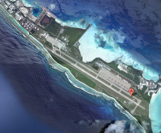 Landing strip on Indian ocean island of Diego Garcia.