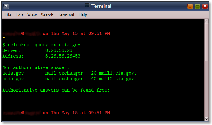Gnome Terminal windows showing bash command nslookup doing an MX query for a domain.