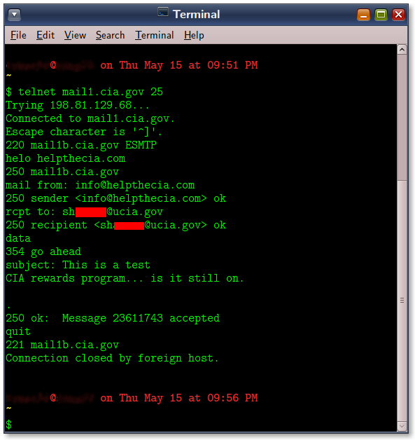 """Using telnet in Gnome Terminal to send a email from bash."""" width=""""593"""" height=""""628"""" /> Using telnet in Gnome Terminal to send an email from bash."""