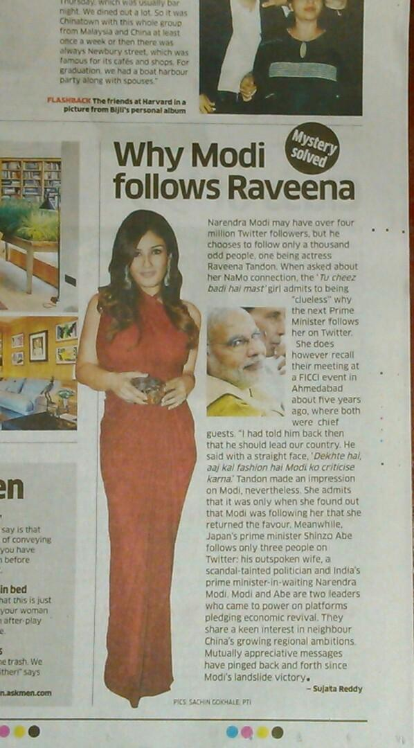 Modi photo next to Raveena Tandon in this ET report totally creeps you out.