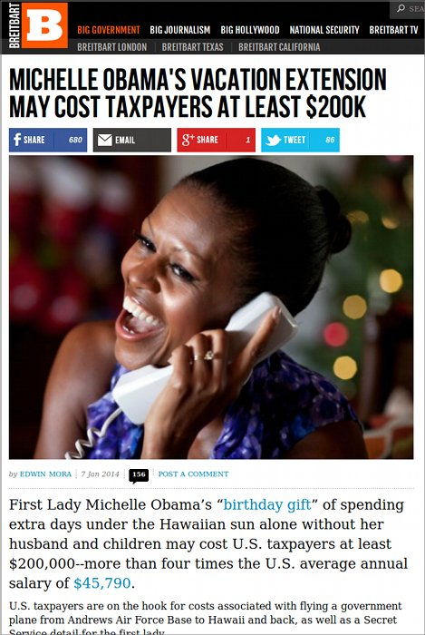 The Obamas, both of them and members of his extended family on both sides, uses big US government planes whenever they can and bills the US tax payer all the costs.