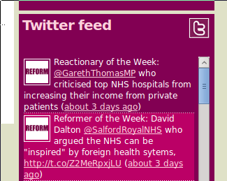 On their Twitter feed, Reform.co.uk try to name and shame critics of the Fascist system and praise others crony capitalists.