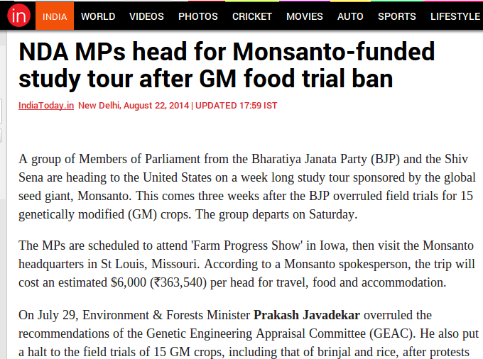 India Today report on Monsanto taking Indian MPs on study tour.