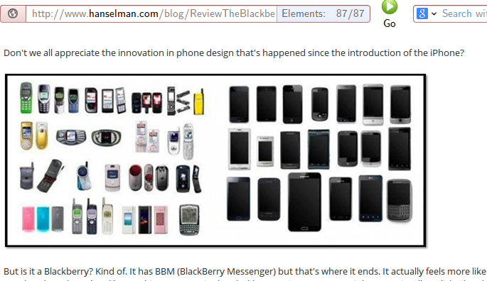 Scott Hanselman writes about the great diversity of mobile phone design before iPhone and the utter lack of innovation afterwards.