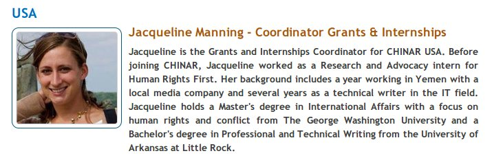 Jacqueline Manning, working at Chinar International, is deputed from Human Rights First, an American NGO.