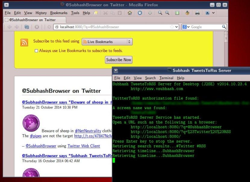 Subhash TweetsToRSS Server output is more informative.