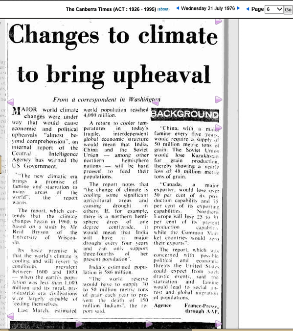 This Canberra Times report from 1972 cites CIA trolls pitching global cooling.