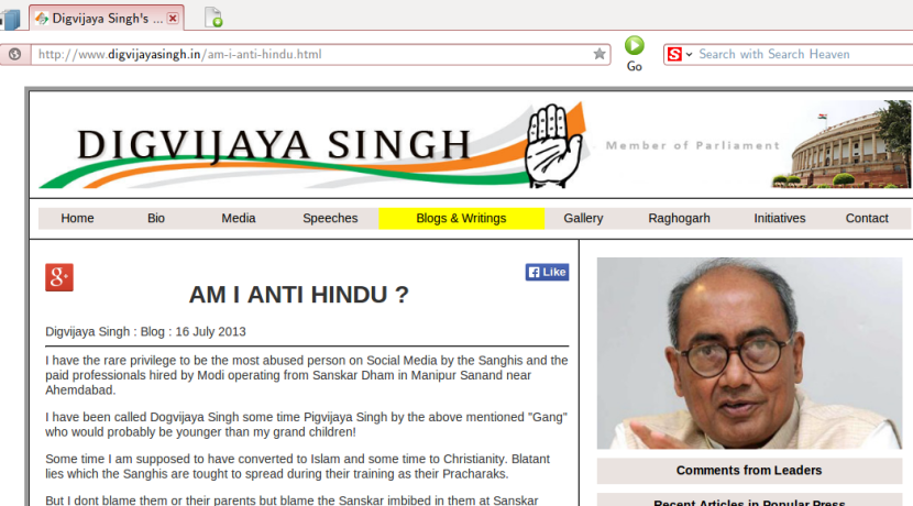 Digvijaya Singh responds to allegation of being Christian, Muslim, anti-Hindu and other RSS allegations.