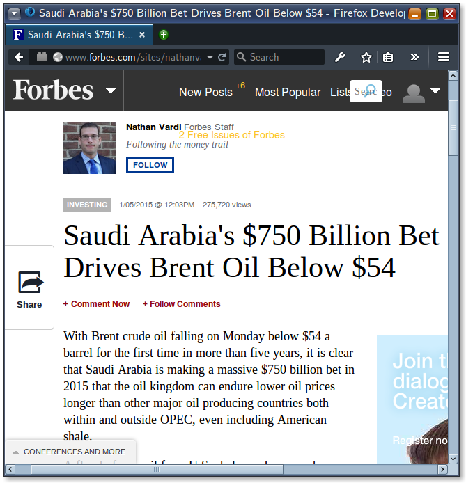Forbes article on Saudi Arabia's 750 billion bet on US dollar.