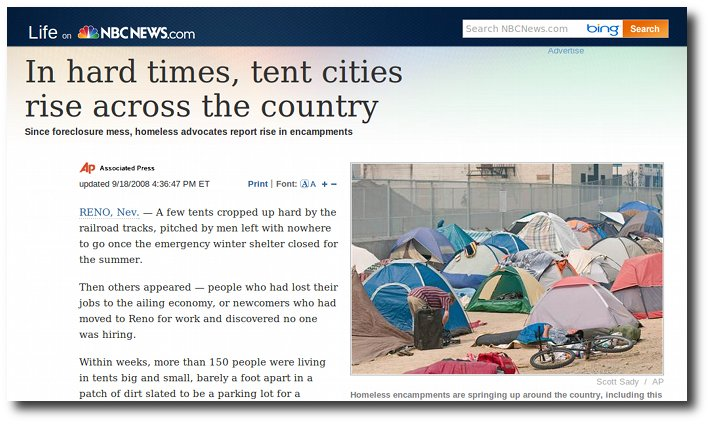 NBC report on tent cities coming up all over America under Obama.