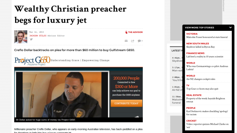 Greedy preacher Creflo Dollar wants donations to buy luxury jet.