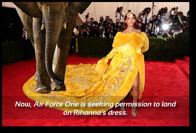 An elephant claims Rihanna's dress.