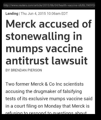 Merck accused of stonewalling in mumps vaccine antitrust lawsuit