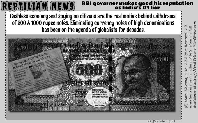 RBI governor fails to pay bearers the sum of 500 and 1000 rupees.