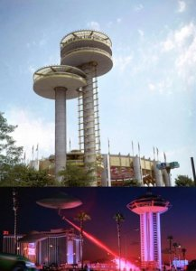 New York State Pavilion was a disguised alien craft in the movie Men In Black. The Landmark Casino was attacked by aliens in the movie Mars Attacks.