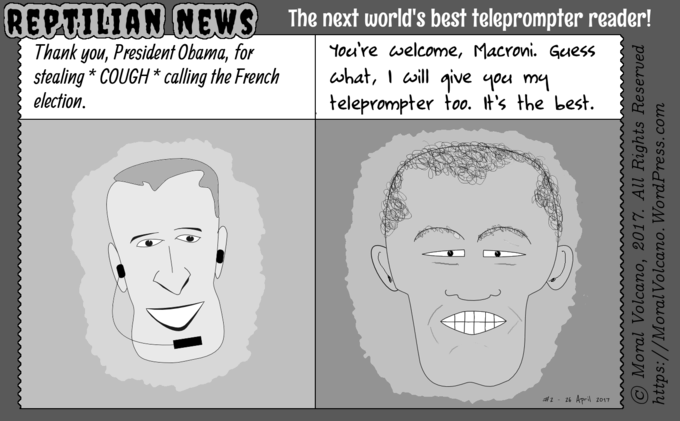 Reptilian News cartoon: Obama calls the French election of Macron