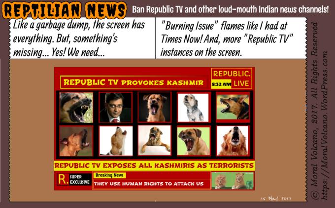 Reptilian News cartoon: Republic TV should be banned