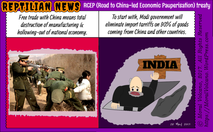 Reptilian News cartoon: RCEP is realy Road to China-led Economi Pauperization