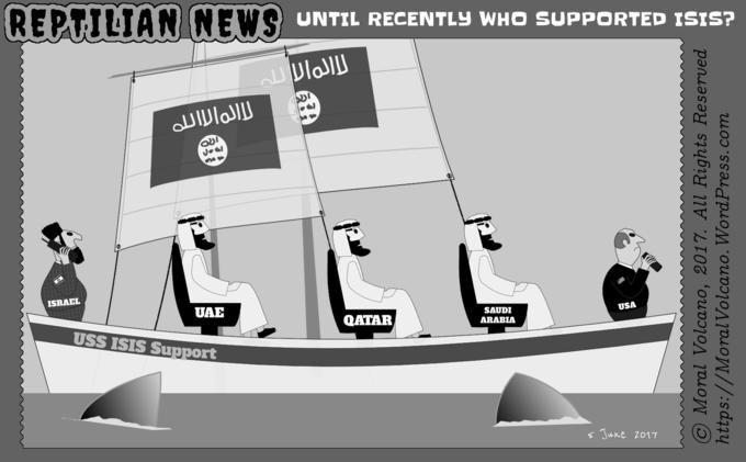 Reptilian News cartoon: ISIS terror sponsored by USA and Israel with help from Saudi Arabia, UAE and Qatar