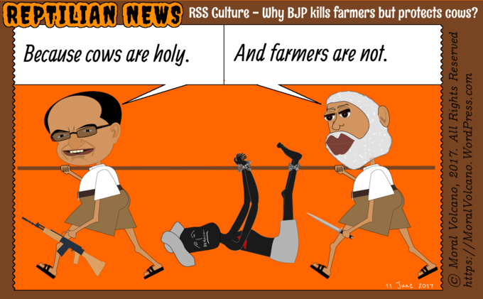 Reptilian News cartoon: Cows are holy. Farmers are not.