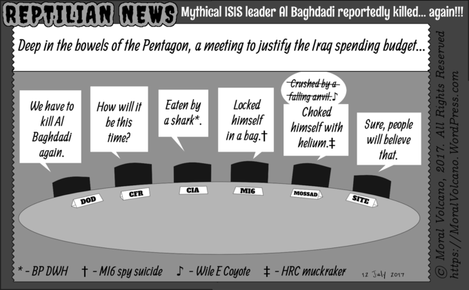Reptilian News cartoon: US military kills Al Baghdadi again.