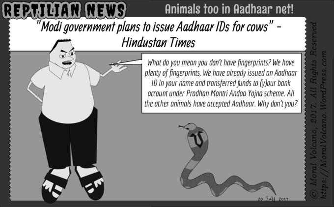 Reptilian News cartoon - Aadhaar for animals
