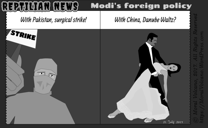 Reptilian News cartoon: Modi's approach to China and Pakistan (both of which are hostile to India and occupy Indian land) are different.