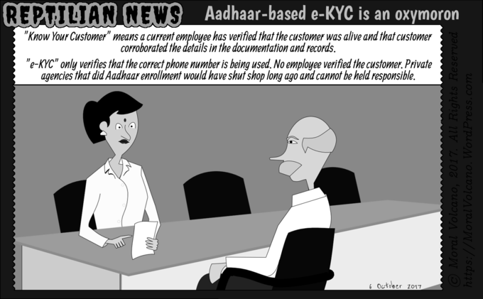 Reptilian News cartoon: eKYC is an oxymoron. Even dead people can pass it.